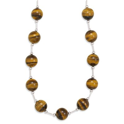 Sterling Silver 16 Inch+2 InchExtention Tigers Eye Bead Necklace - 16 Inch