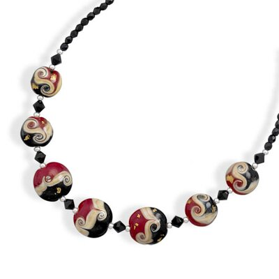 Sterling Silver 16 Inch+2 InchExtention Lampwork Glass Bead and Crystal Necklace - 16 Inch