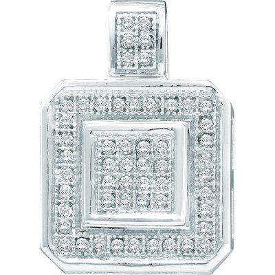 10k White Gold 0.15 Dwt Diamond Micro Pave Set Pendant