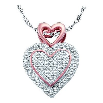 Jewelryweb 10k White Gold 0.15 Dwt Diamond Heart Pendant