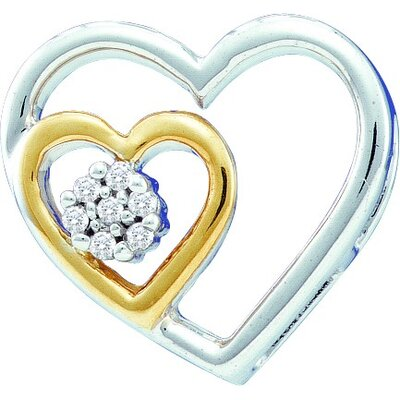 Jewelryweb 10k White Gold 0.03 Dwt Diamond Heart Pendant
