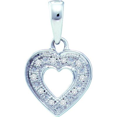 10k White Gold 0.02 Dwt Diamond Heart Pendant