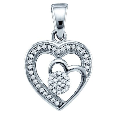 Jewelryweb 10k White Gold 0.15 Dwt Diamond Micro Pave Set Heart Pendant