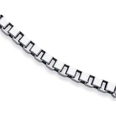 Jewelryweb Stainless Steel Mens Large Box Link Necklace - 24 Inch