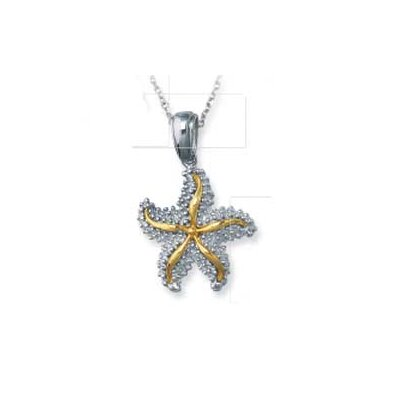 Sterling Silver and 14k Yellow Starfish Pendant- 18 Inch