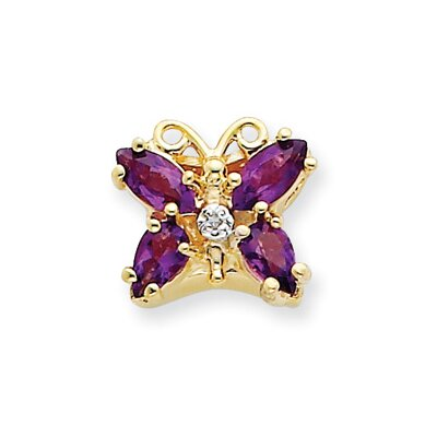 14k Amethyst and Diamond Butterfly Bracelet Slide