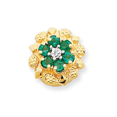 14k Emerald and Diamond Bracelet Slide