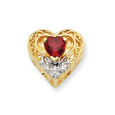 14k and Rhodium Garnet and Diamond Heart Bracelet Slide