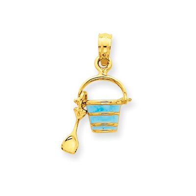 Jewelryweb 14k Aqua Enameled Beach Pail With Shovel Pendant
