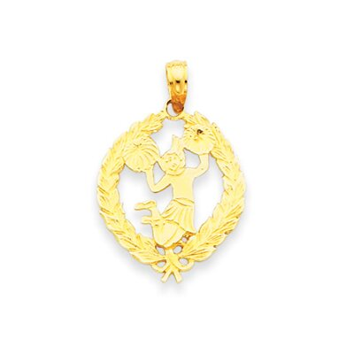 14k Cheerleader in Leaf Disc Pendant