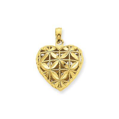 Jewelryweb 14k Diamond-Cut Open Puffed Heart Pendant