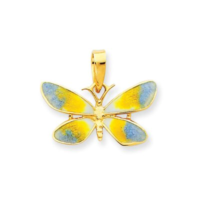 14k Enameled Blue and Yellow Butterfly Pendant