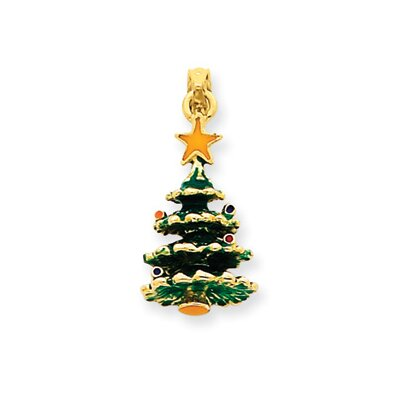 14k Enameled Christmas Tree Pendant