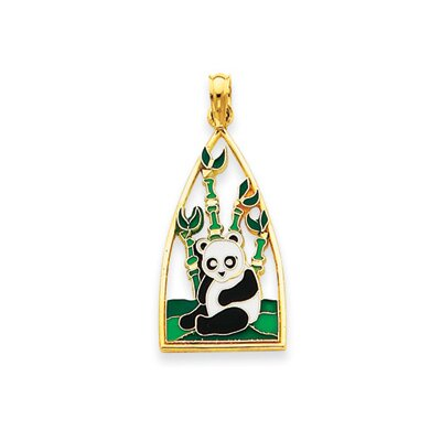 Jewelryweb 14k Enameled Panda Bear Pendant