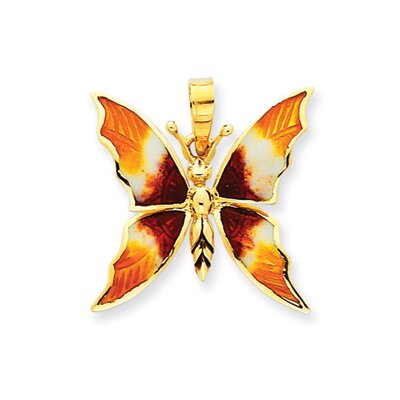 14k Enameled Red and Gold Butterfly Pendant