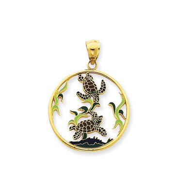 Jewelryweb 14k Enameled Sea Turtles Circle Pendant