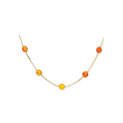 Jewelryweb 14K Faceted Amber Bead Necklace - 16 Inch- Lobster Claw