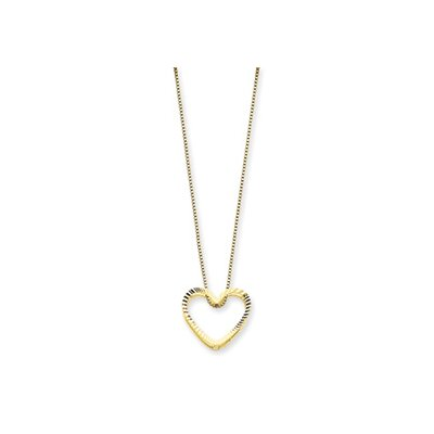 14K Fancy Heart Necklace - 18 Inch- Spring Ring