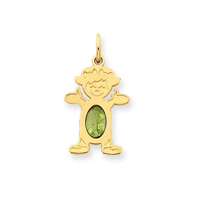 14K Girl Oval Genuine Peridot August Birthstone Pendant