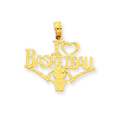 Jewelryweb 14k I Heart Basketball With Ball and Net Pendant
