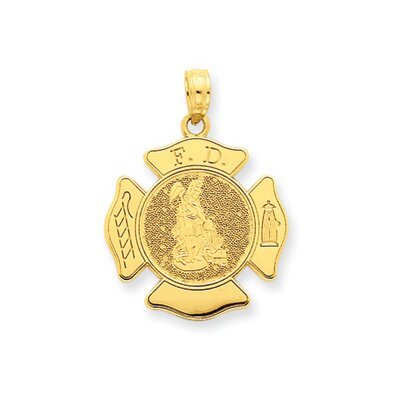 14k Large Fire Department Badge Pendant