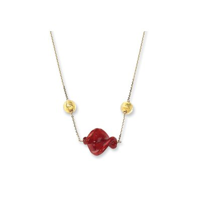 Jewelryweb 14k Red and Gold Murano Glass Bead Necklace - 16 Inch