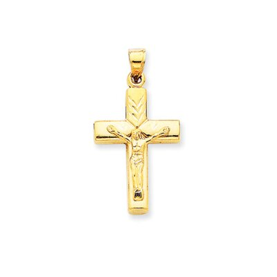 14k Reversible Crucifix Cross Pendant- Measures 33.8x17.6mm