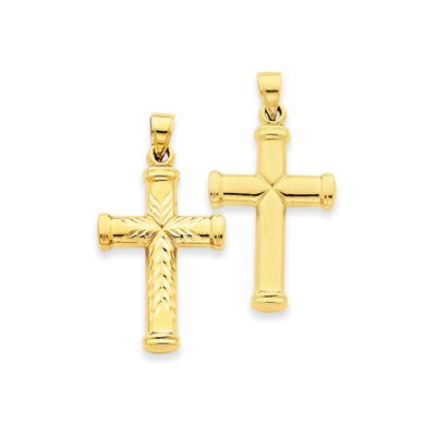 14k Reversible Diamond-Cut Cross Pendant- Measures 33.8x39.8mm
