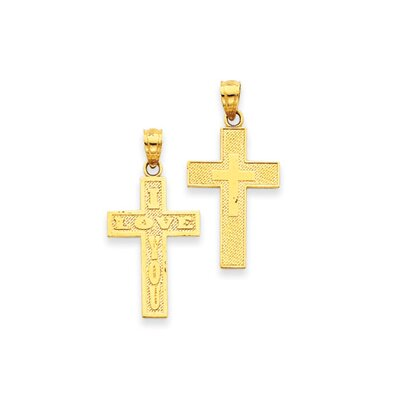 14k Reversible I Love You Cross Pendant