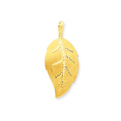 14K Satin and Diamond-Cut Leaf Pendant