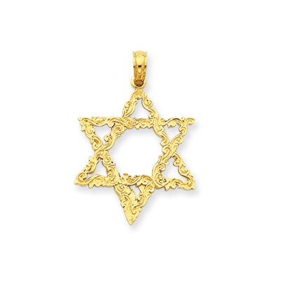 14k Star of David Pendant- Measures 28.4x19.8mm