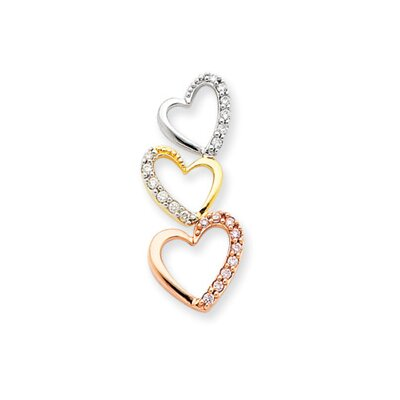 Jewelryweb 14k Tri Color Diamond Triple Heart Pendant