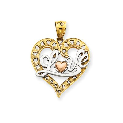 Jewelryweb 14k Tri-color and Rhodium Love Heart Pendant