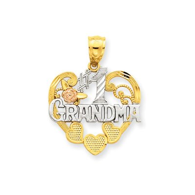 Jewelryweb 14k Two-tone and Rhodium Number 1 Grandma Heart Pendant