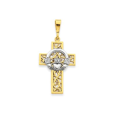 Jewelryweb 14k Two-tone Claddagh Cross Pendant- Measures 19.9x40.5mm