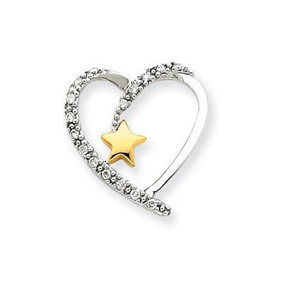 14k Two-tone Diamond Heart Star Pendant