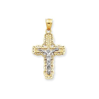 14k Two-tone Diamond-Cut Crucifix Pendant