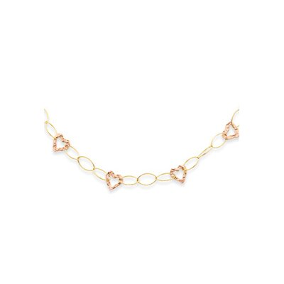 Jewelryweb 14K Two-Tone Fancy Heart Necklace - 18 Inch- Spring Ring