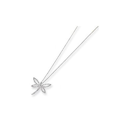 Jewelryweb 14k White Gold Diamond Fascination Dragonfly Necklace