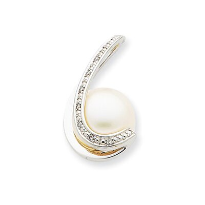 14k White Gold Diamond Cultured Pearl Pendant
