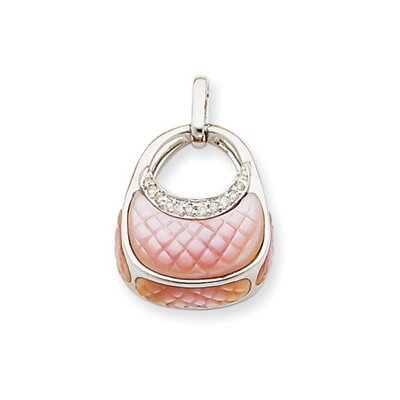 Jewelryweb 14k White Gold Diamond Pink Mother of Pearl Purse Pendant