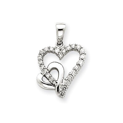 Jewelryweb 14k White Gold Heart Pendant