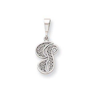14k White Gold Solid Polished Filigree Initial G Pendant