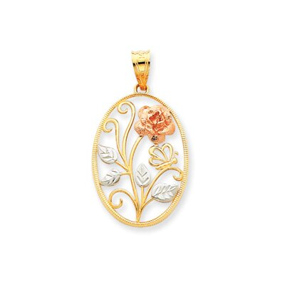 Jewelryweb 14K Yellow and Rose Gold With Rhodium Flower Pendant