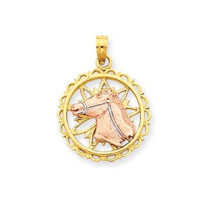 Jewelryweb 14k Yellow Rose Gold With Rhodium Horse Head Circle Pendant