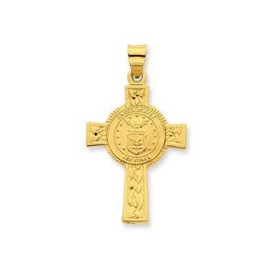 24k Gold-plated Sterling Silver Air Force Cross Pendant