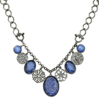 Black-plated Etched Blue Crystal Multi Drop 16 In Necklace