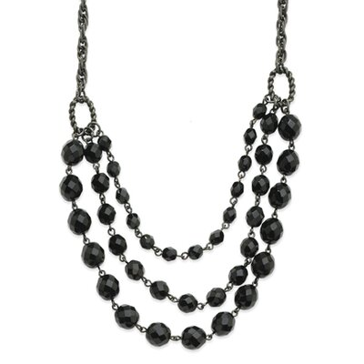 Black-plated Faceted Jet Bead 3-Strand Bib 15 Inch Necklace
