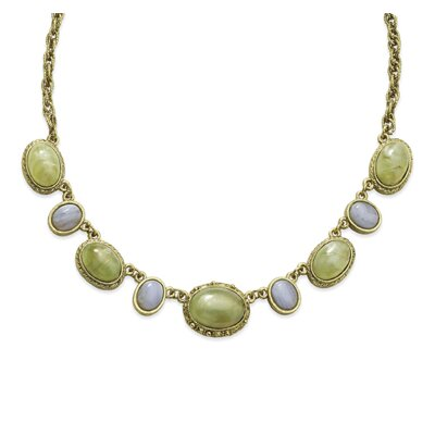 Brass-tone Aventurine Blue Lace Agate Ovals 16 In Necklace