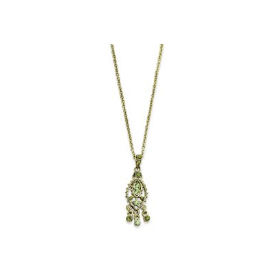 Jewelryweb Brass-tone Light Dark Green Crystal Drop 16 Inch Necklace